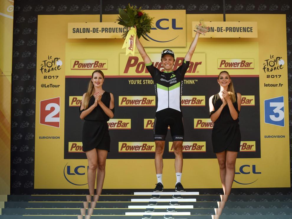 El noruego Edvald Boasson Hagen en el podio.