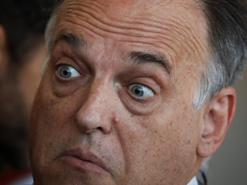 El presidente de LaLiga, Javier Tebas, este viernes en Las Rozas.