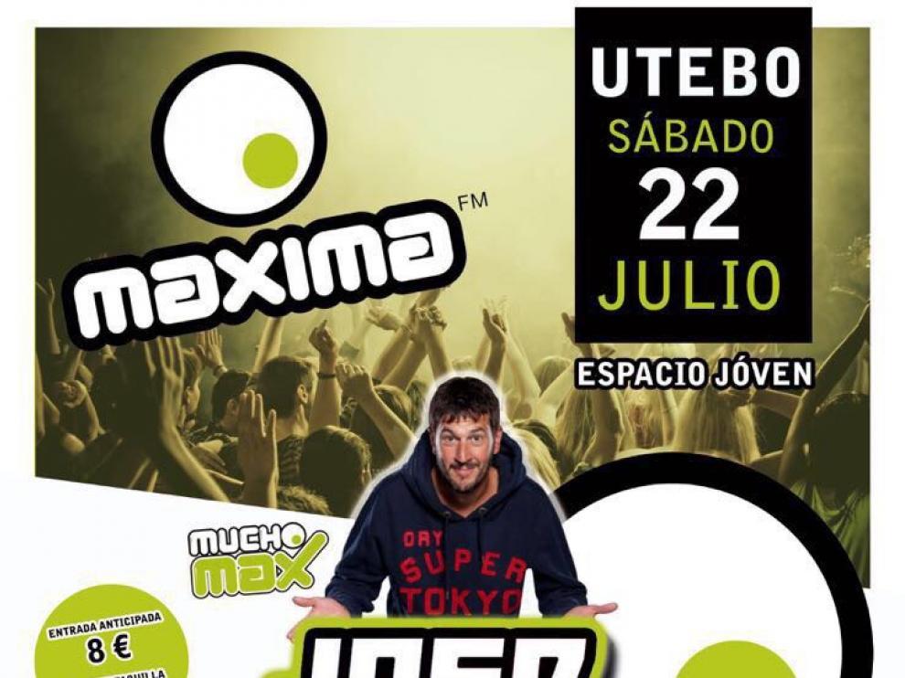 Cartel de la fiesta 'Máxima FM' prevista para el sábado en Utebo.