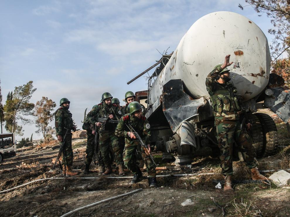 Imagen de archivo de combates a las afueras de Damasco.