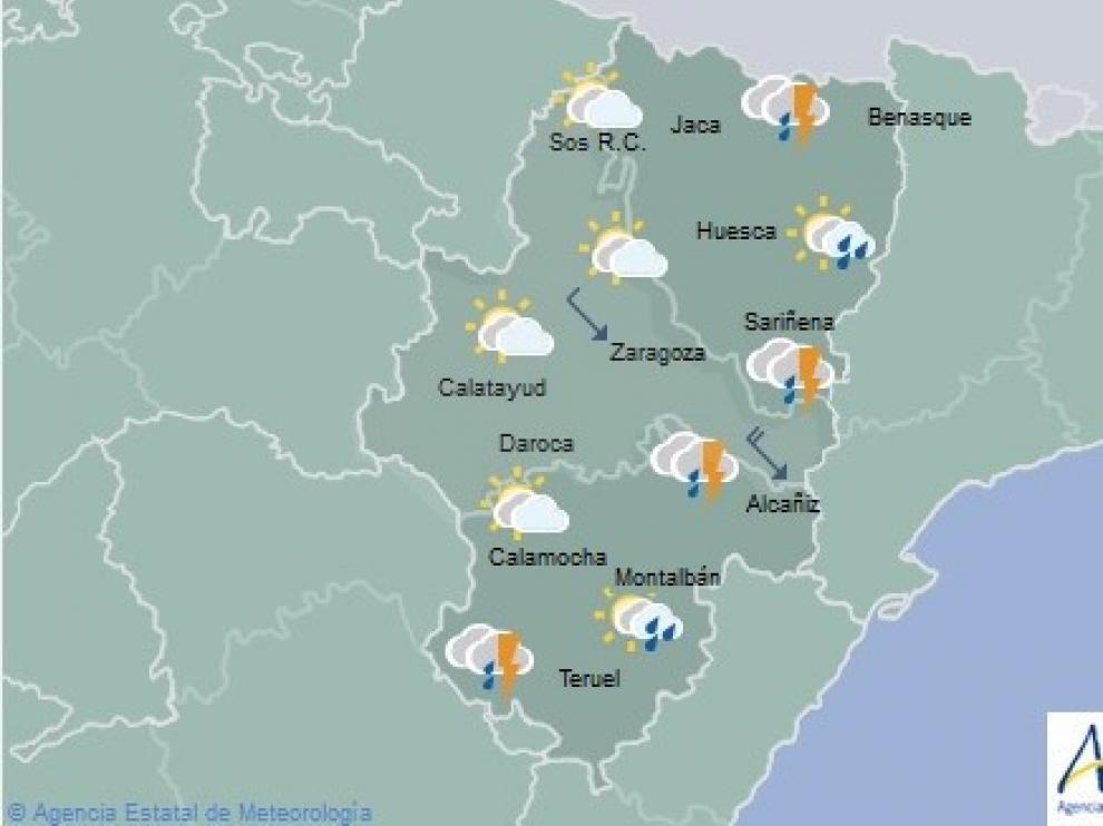 Alerta por tormentas muy intensas en las tres provincias aragonesas