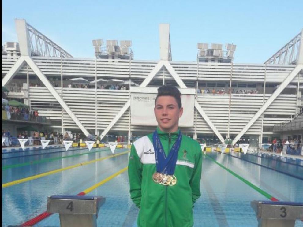 Luis Domínguez, en la piscina