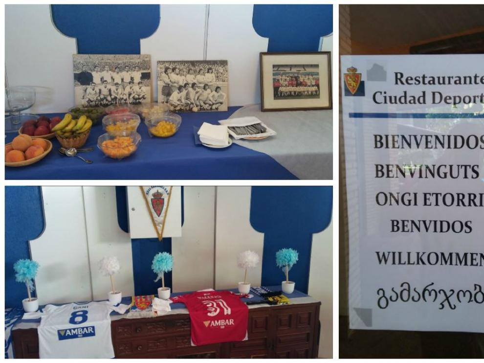 Imágenes de los amuletos que presiden el nuevo comedor del equipo en la Ciudad Deportiva, así como del cartel multilingüe de bienvenida.