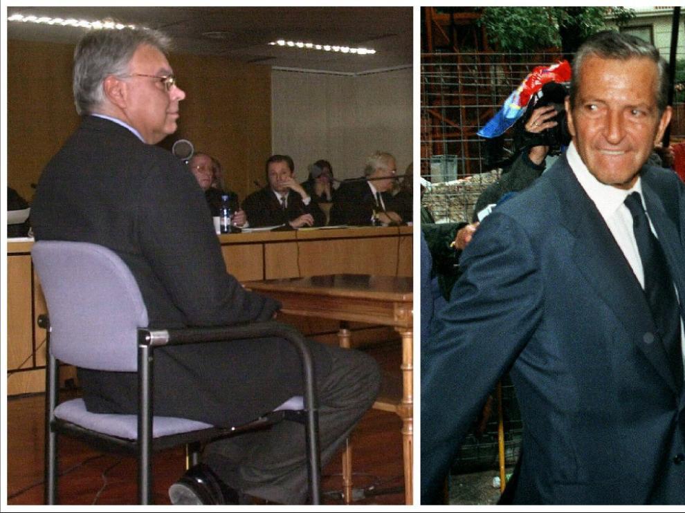 González, durante su declaración ante el Supremo en 1998. Suárez, a las puertas de la Audiencia Nacional, en 1995.