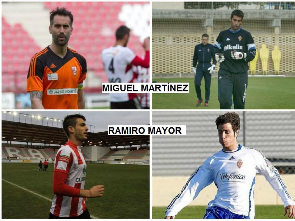 Imágenes de Miguel Martínez (arriba), en la actualidad en el Logroñés y hace 16 años en el Real Zaragoza, con César Láinez al fondo. Abajo, Ramiro Mayor, nuevo logroñesista, y en su etapa en Zaragoza, en 2011.