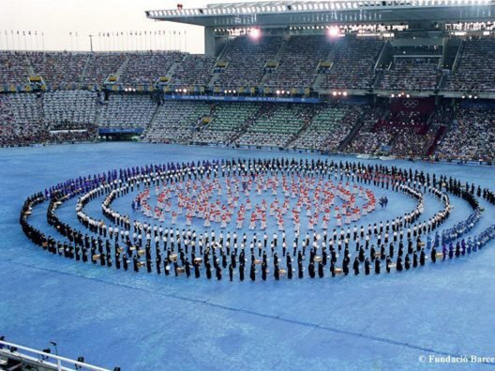 Los tambores de la Ruta, en la ceremonia de inauguración de Barcelona 92.