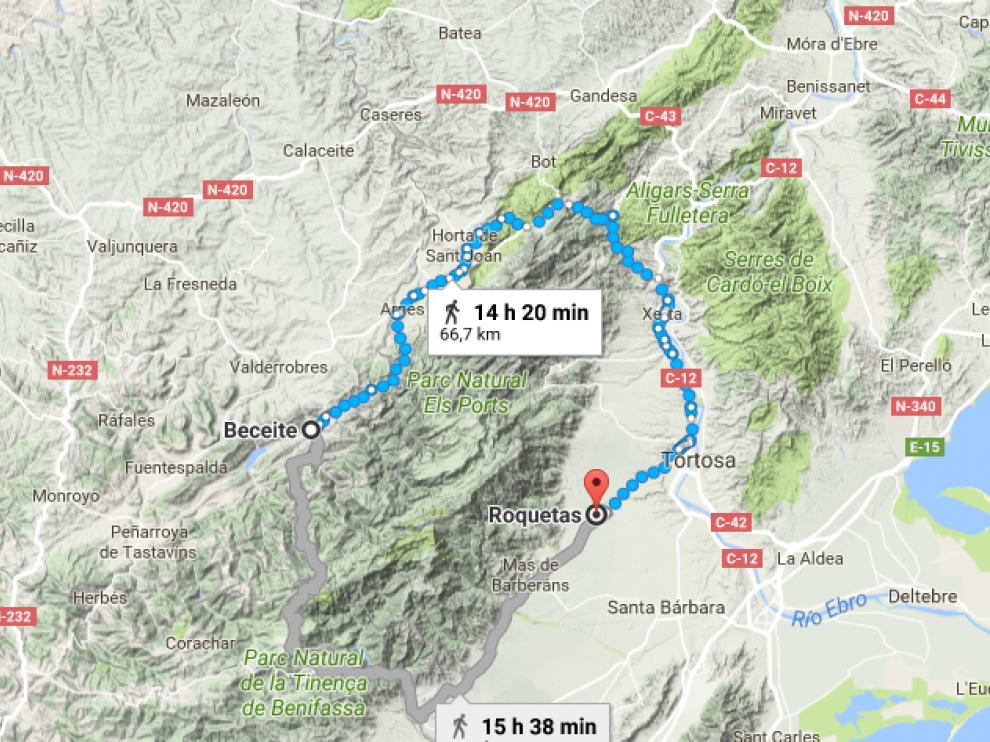 Zona que recorrió la desaparecida entre Beceite (Teruel) y Roquetas (Tarragona)