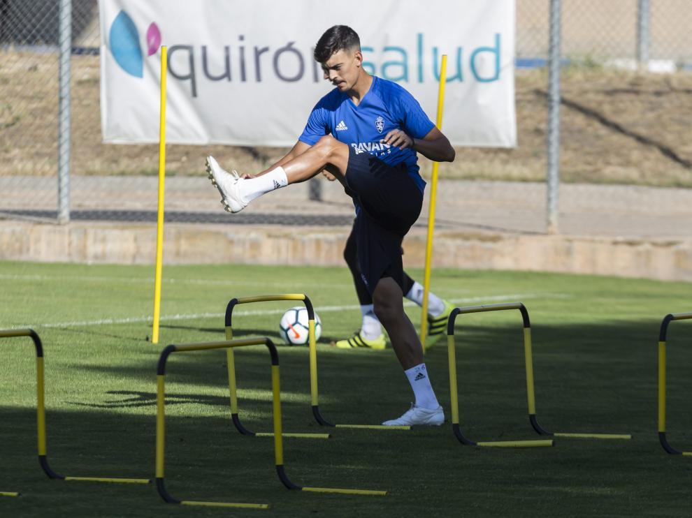 Edu Bedia, en un entrenamiento en la Ciudad Deportiva durante esta pretemporada.