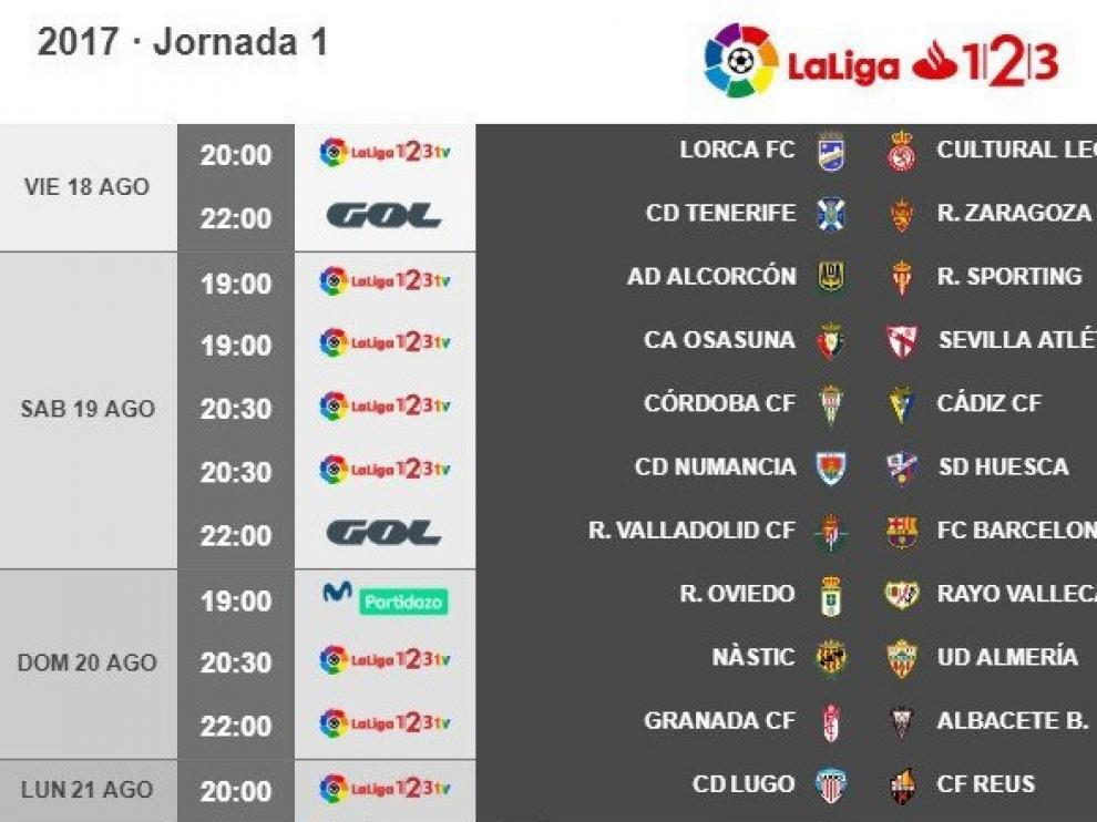 Horarios de la primera jornada en Segunda División.