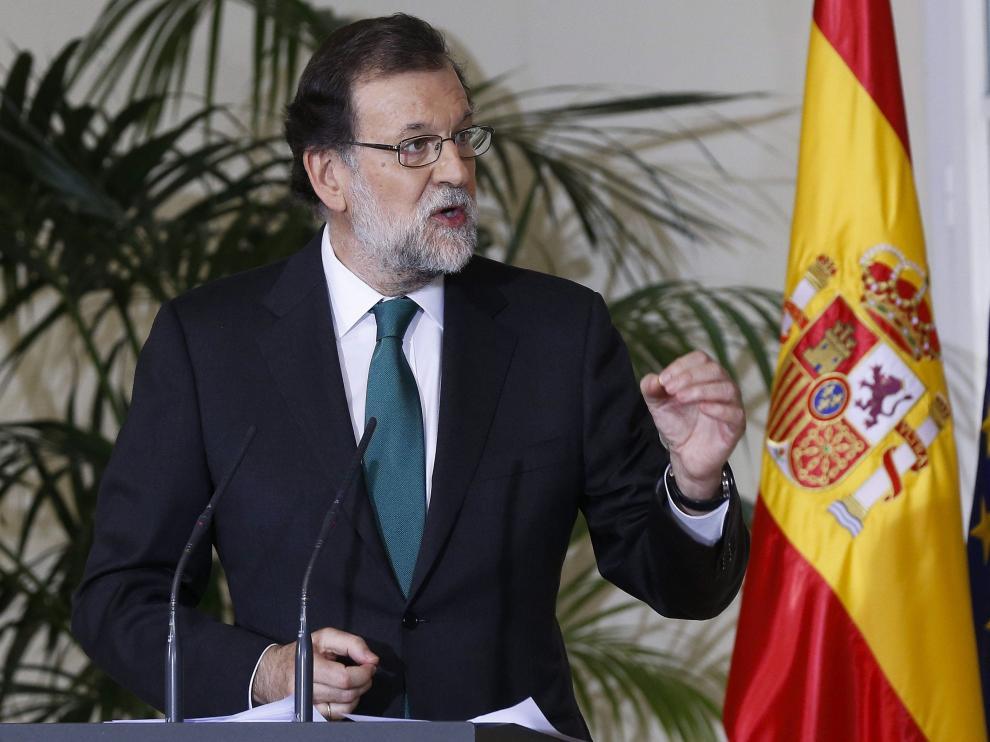 Mariano Rajoy en el acto de entrega en el Palacio de la Moncloa de las medallas de oro al mérito en el trabajo.