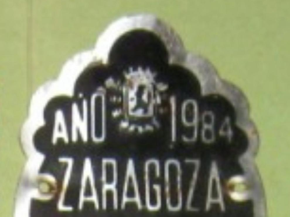 Matrícula de 1984 de una bicicleta en Zaragoza