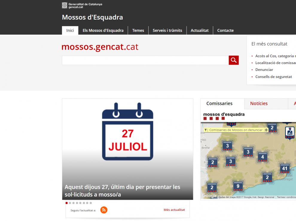 Página principal de la web de losMossosd'Esquadra.