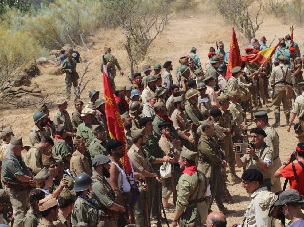 Recreación de uno de los combates de la Batalla del Ebro.