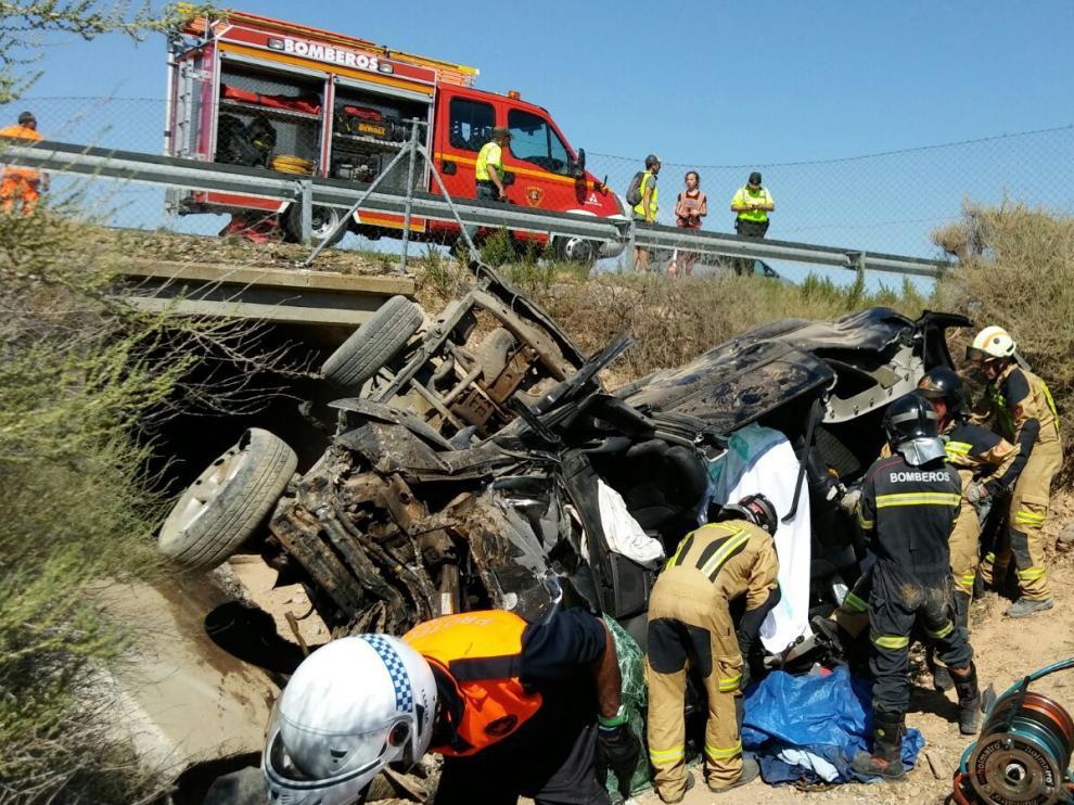 Foto de archivo de un accidente de tráfico en Boquiñeni.