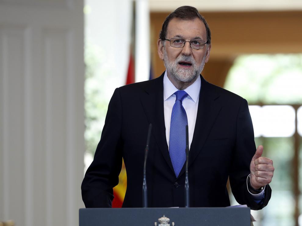 Mariano Rajoy, durante su comparecencia de este viernes en la Moncloa para hacer balance del curso político.