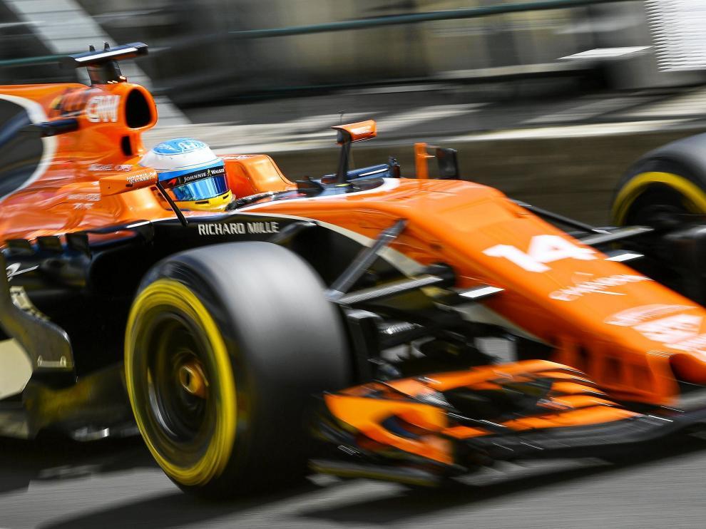 El coche de Fernando Alonso, rodando en Hungría