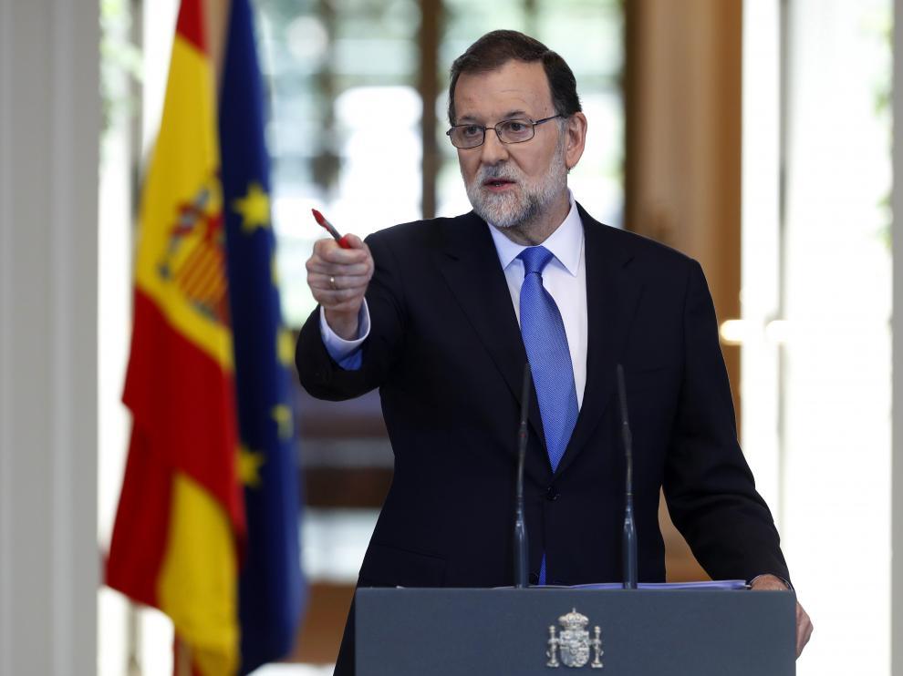 El presidente del Gobierno, Mariano Rajoy, durante una intervención en La Moncloa este viernes.