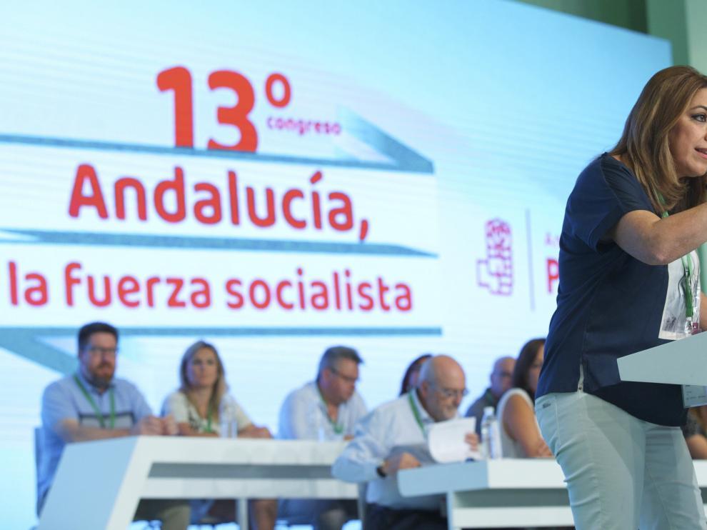 Susana Díaz este sábado durante su intervención ante el Plenario del 13 Congreso Regional del PSOE-Andalucía.