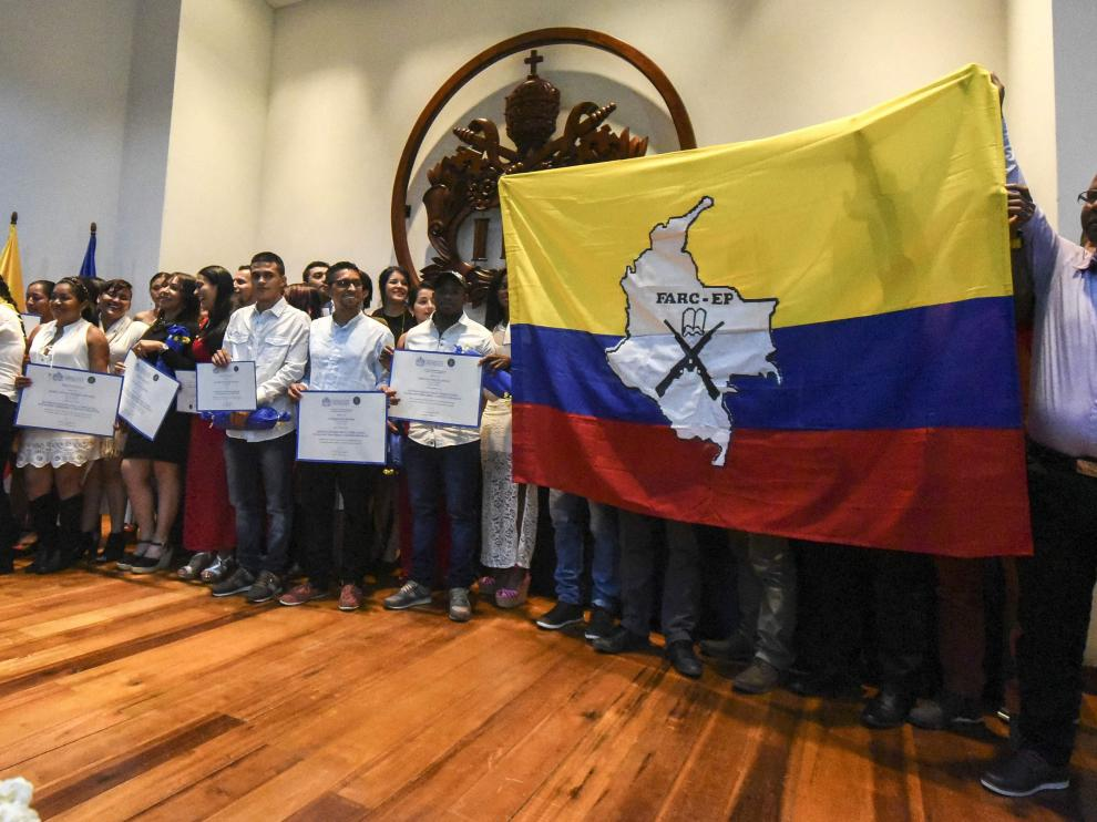 Integrantes de las FARC este sábado en Cali (Colombia).