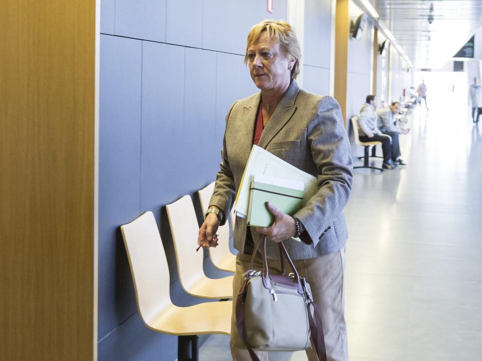 La exalcaldesa Marisol Aured entra a declarar en el juicio, en octubre del año pasado.