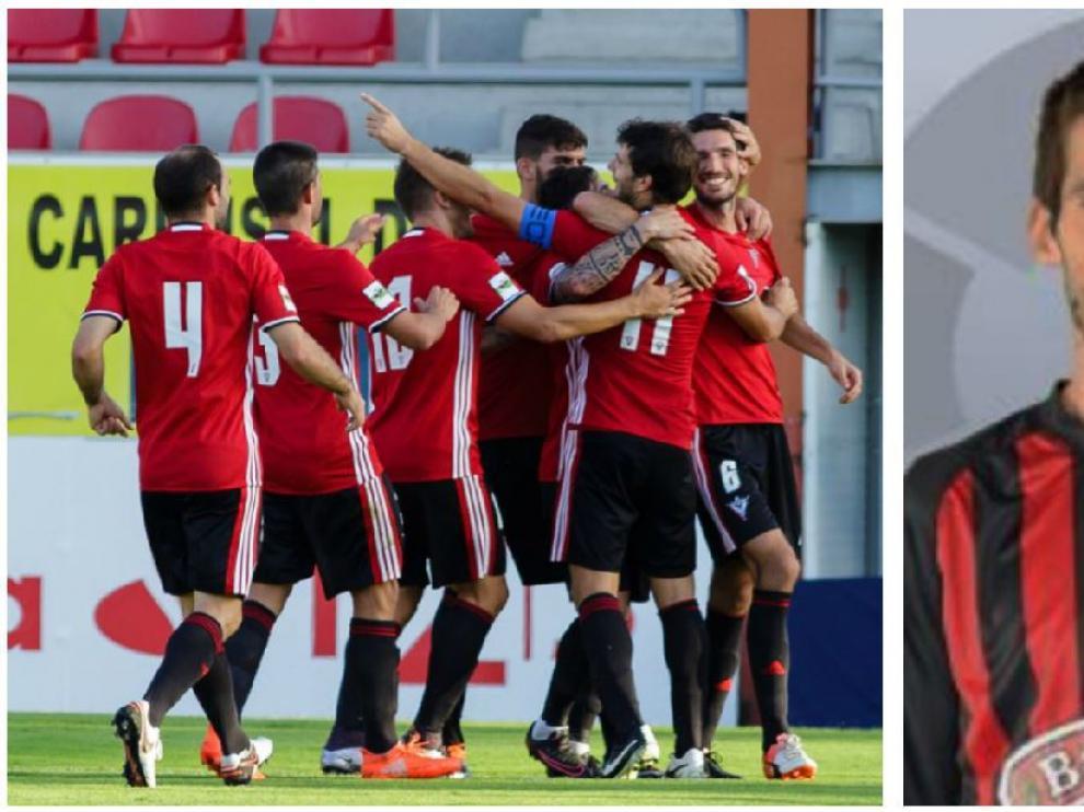 A la izda, Albístegui (número 6) es felicitado por sus compañeros del Mirandés tras marcar el 1-0 al Real Zaragoza este sábado en Anduva. A la dcha., el centrocampista vasco el año pasado en el Reus.