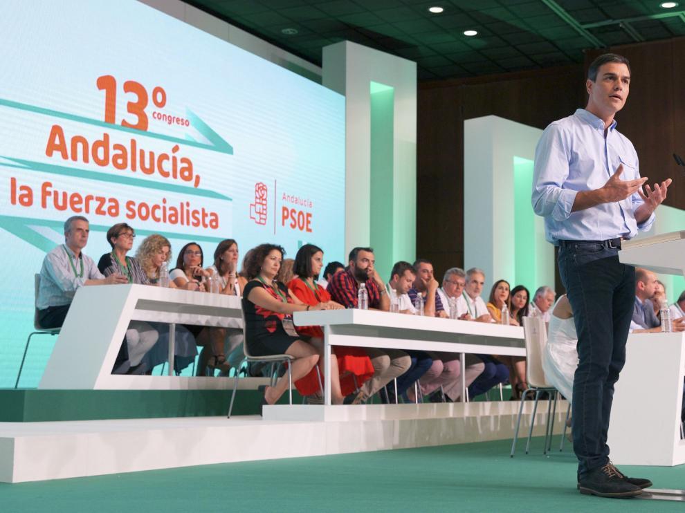 Pedro Sánchez este domingo en la clausura del 13º congreso de unos socialistas andaluces.