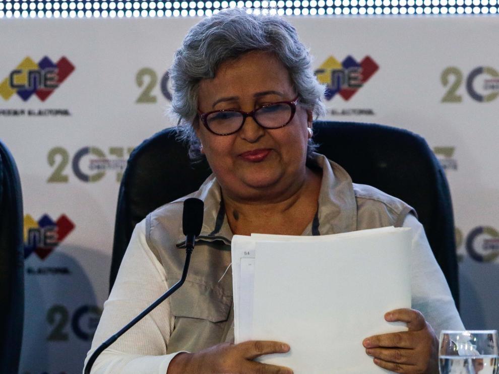 La presidenta del Consejo Nacional electoral en Venezuela.