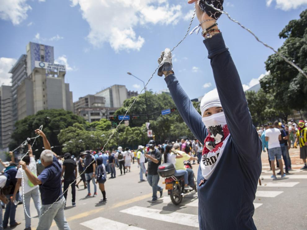 Protestas en rechazo a la Asamble Nacional Constituyente este domingo en Venezuela.