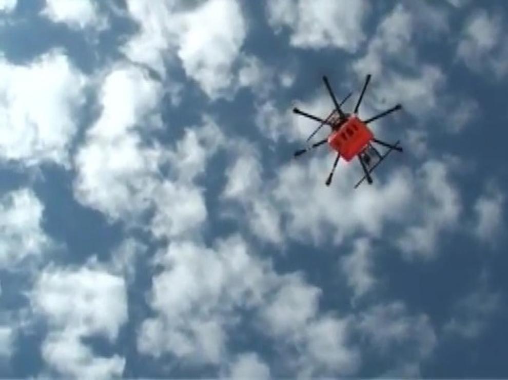 Dron durante un vuelo de prueba