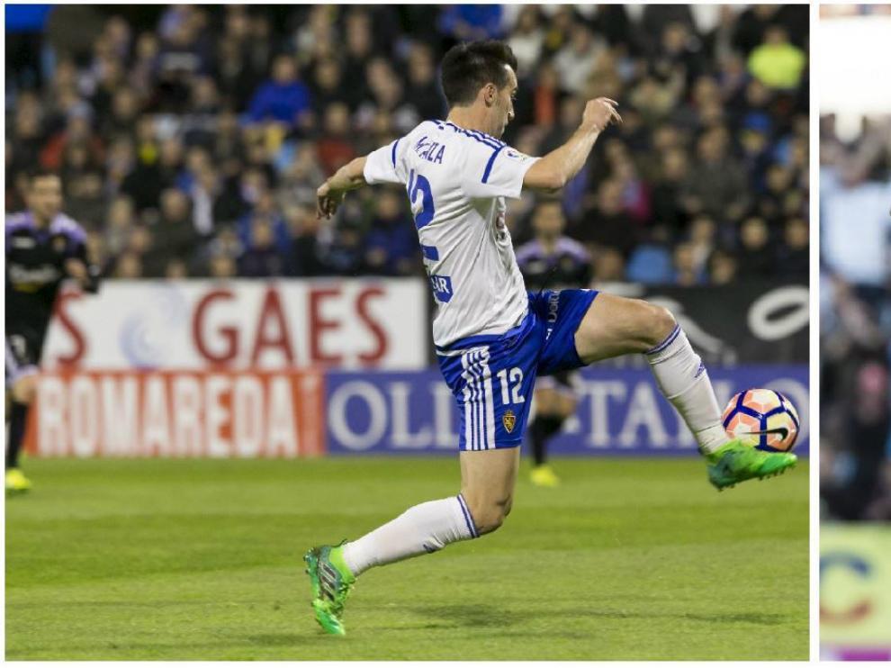 Lanzarote, a la izda., anotando su último gol como zaragocista, en La Romareda frente al Valladolid el pasado 2 de abril. A la dcha. saludando a la afición después de anotar otro tanto.