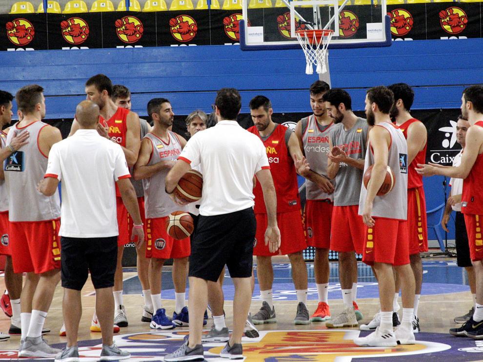 La selección de baloncesto, durante un entrenamiento en la preparación previa al Eurobasket.