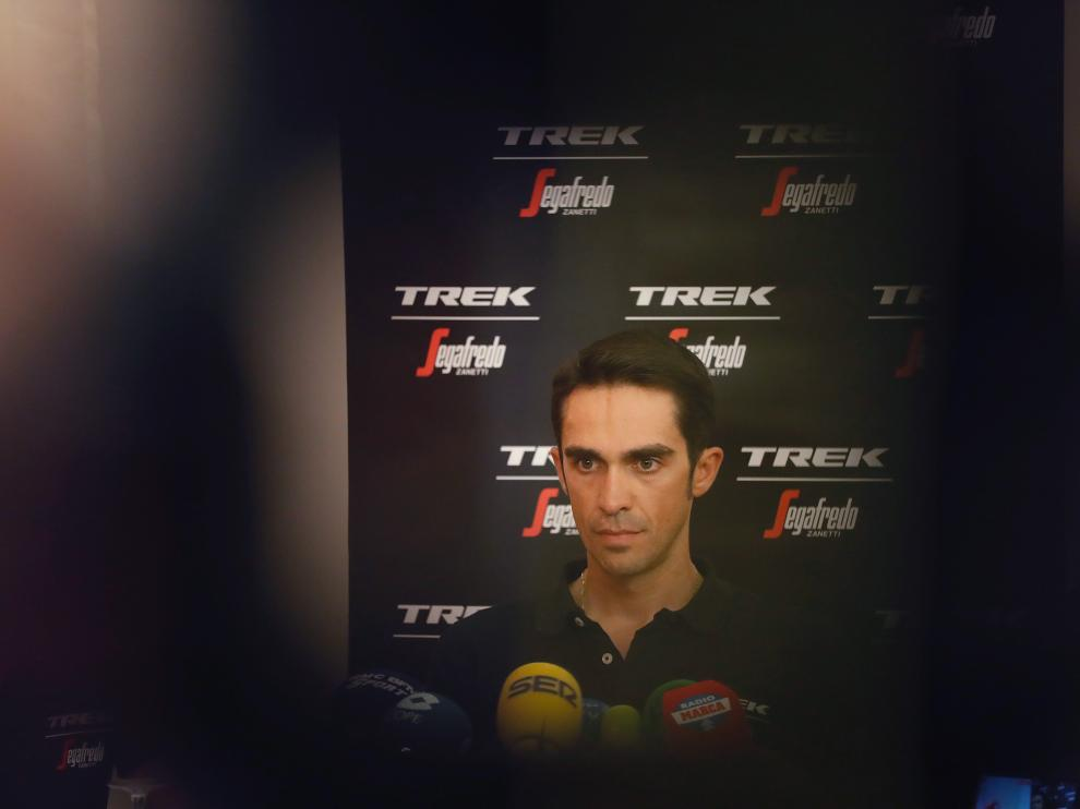 Alberto Contador, este viernes en la localidad francesa de Nimes