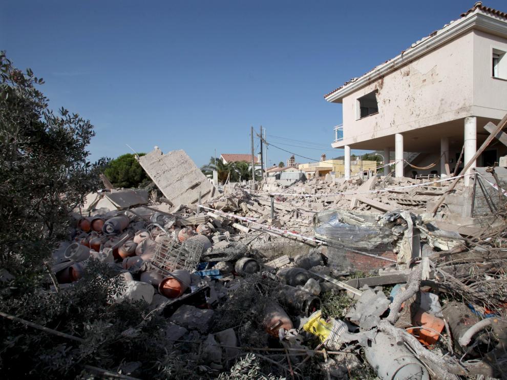 Estado en el que quedó la vivienda tras la primera explosión