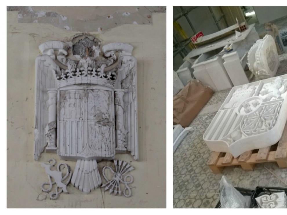 Un mes para cambiarlo. El pasado 20 de julio fue descolgado el escudo de la dictadura franquista de la estación de Canfranc -a la izquierda- y se trasladó al Archivo Municipal de Huesca. El nuevo de la monarquía de Alfonso XIII -a la derecha- se trasladó hace una semana y está previsto que se coloque a final de este mes.
