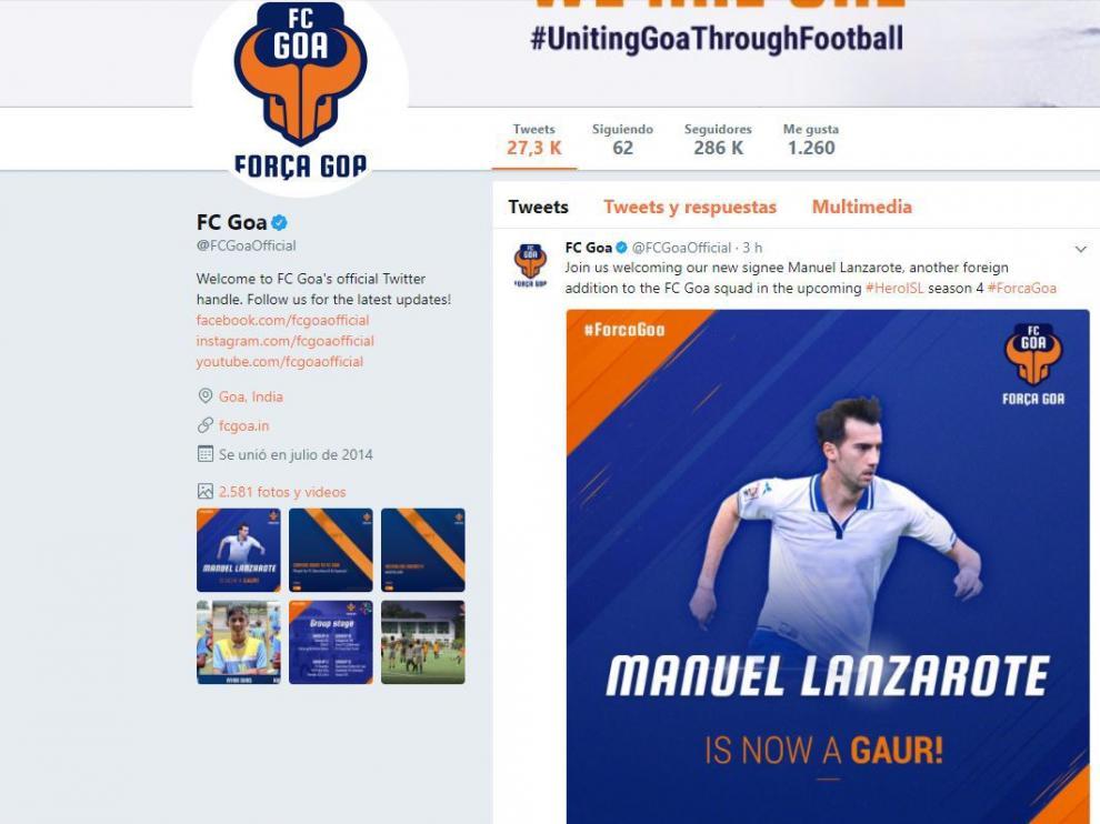 Confirmación en Twitter del FC Goa del fichaje de Lanzarote por el club indio.