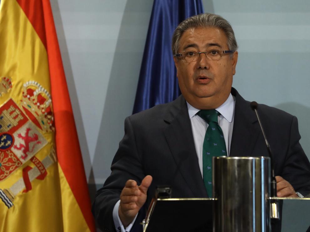 Juan Ignacio Zoido, en una rueda de prensa celebrada este lunes