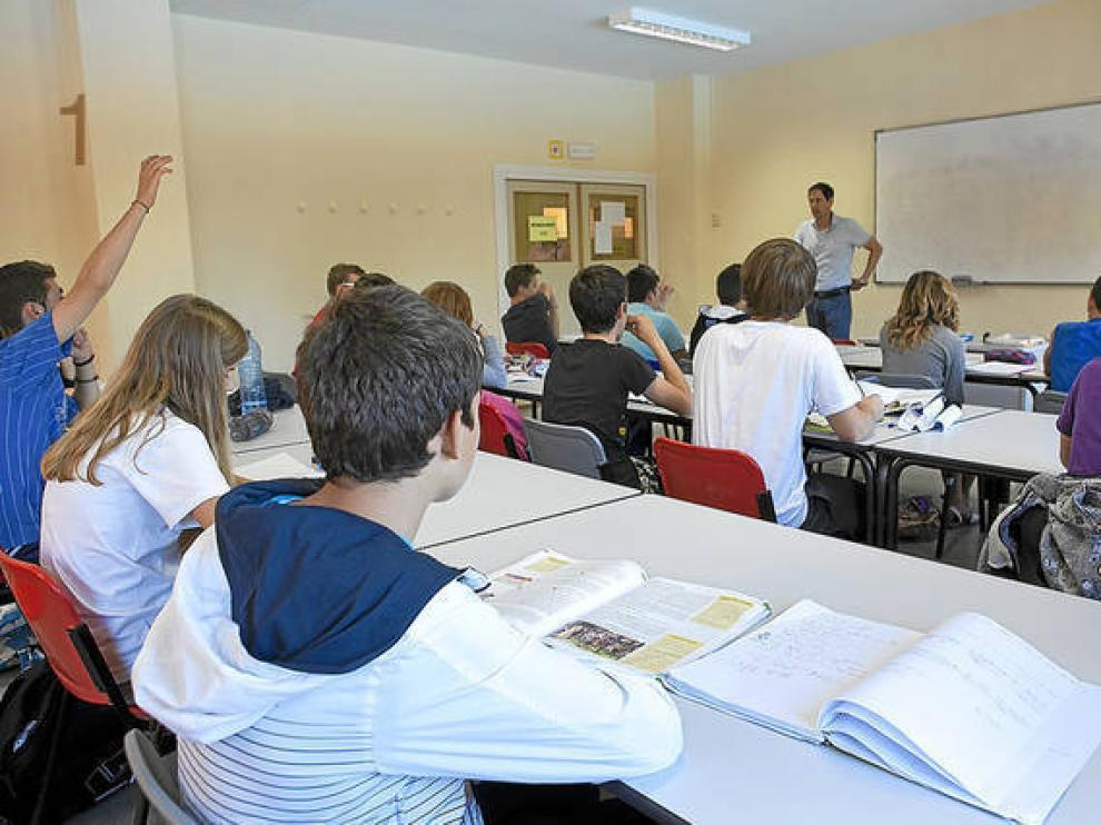 Imagen de archivo de una clase en un instituto zaragozano.