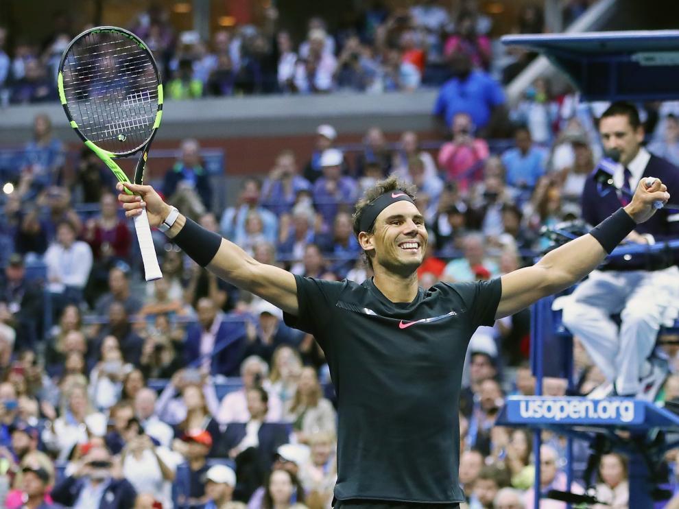 Rafa Nadal celebra su victoria en el Abierto de Estados Unidos.
