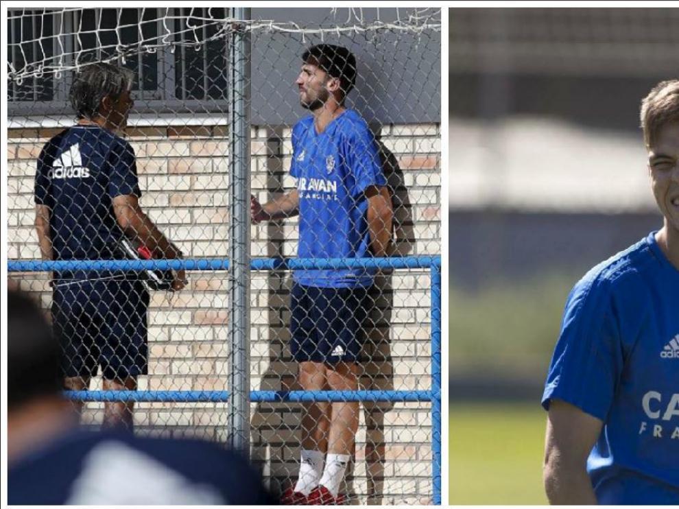 Dos momentos del entrenamiento matinal del Real Zaragoza este miércoles en la Ciudad Deportiva. A la izda. Benito habla con Natxo González en los pasillos de vestuarios. A la dcha. Febas comienza a ejercitarse minutos antes de retirarse a la caseta.