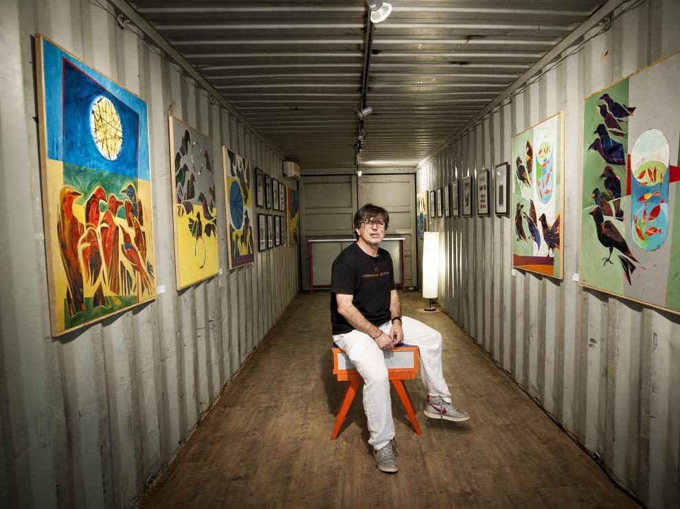 David Giménez, dentro del contenedor que alberga el proyecto enLATAmus.