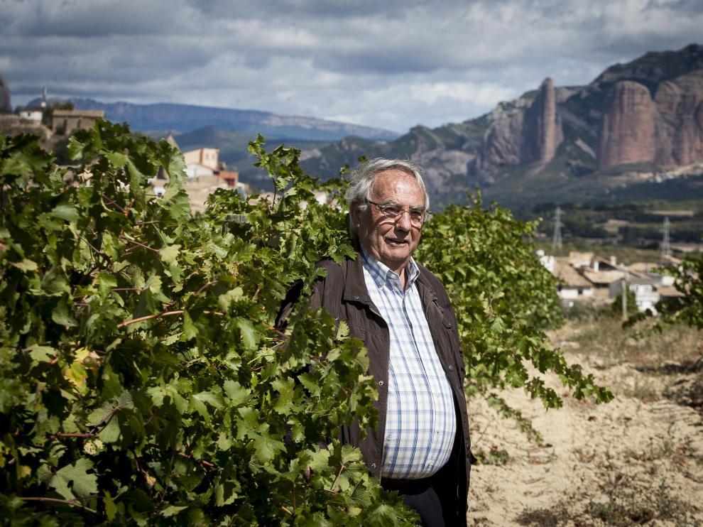 Jorge Senar, en los viñedos de Pegalaz, con Santa Eulalia a un lado y los mallos de Riglos al otro.