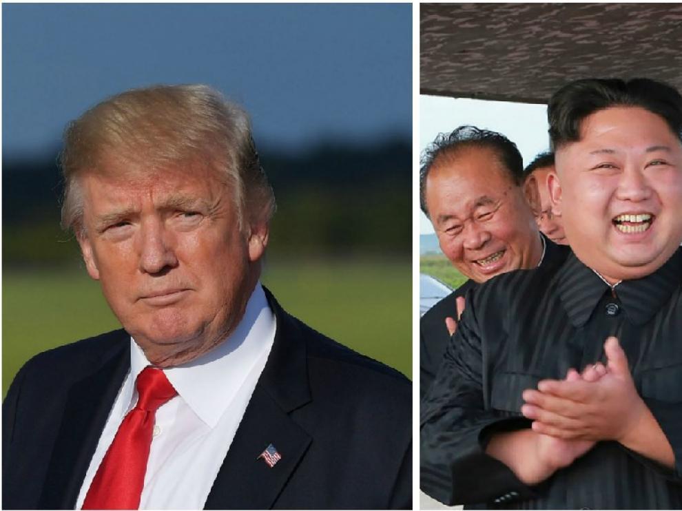 Combo de imágenes de Trump y Kim Jong Un