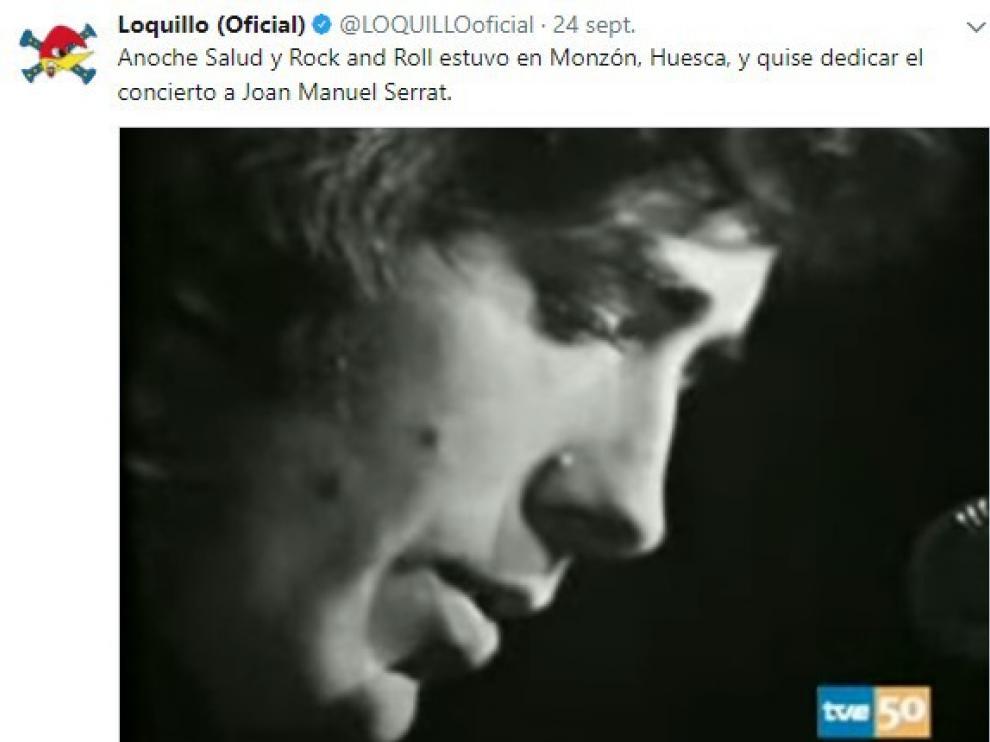 Loquillo dedica a Serrat su concierto en Monzón y recomienda leer a Marsé