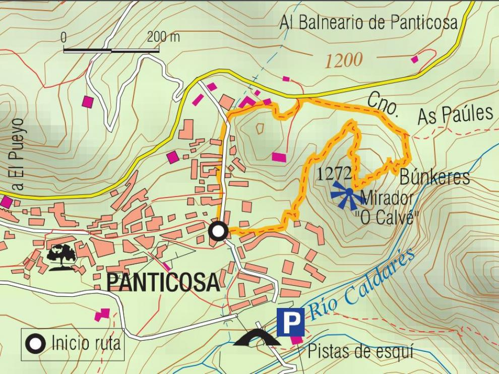 Mapa de la ruta a O Calvé.