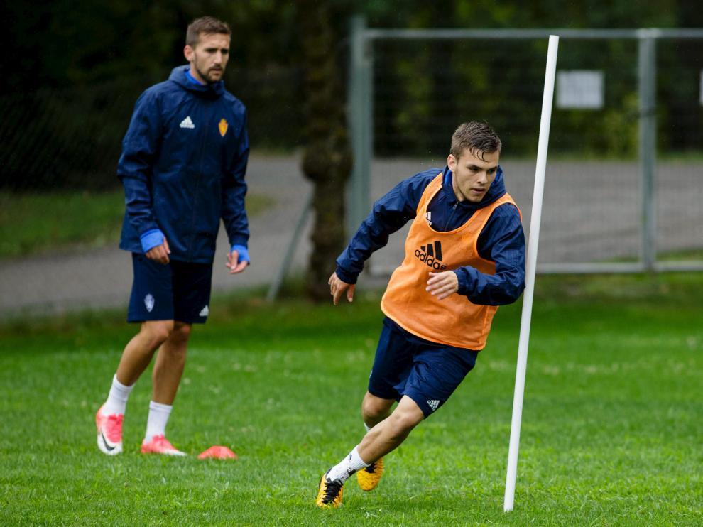 Febas, en un entrenamiento del Real Zaragoza