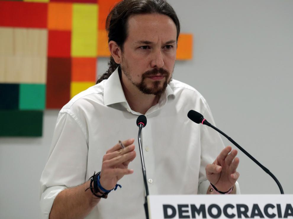 Iglesias, este domingo, valorando el desarrollo del referéndum ilegal de Cataluña.