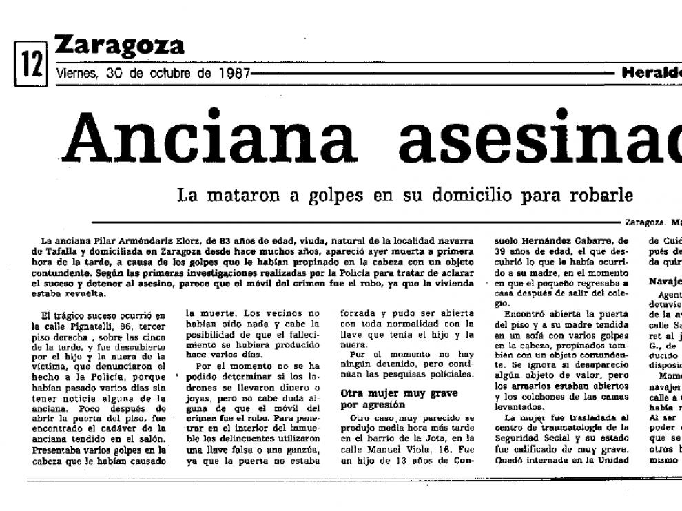 Noticia publicada en HERALDO el 30 de octubre de 1987 sobre el asesinato de Pilar Arméndariz.