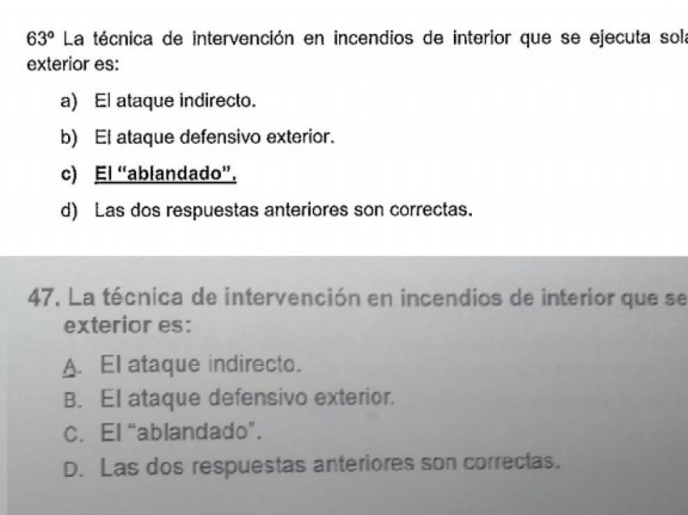 Pregunta 63 del examen a Bombero de la DPZ, parecida a una anulada en Navarra