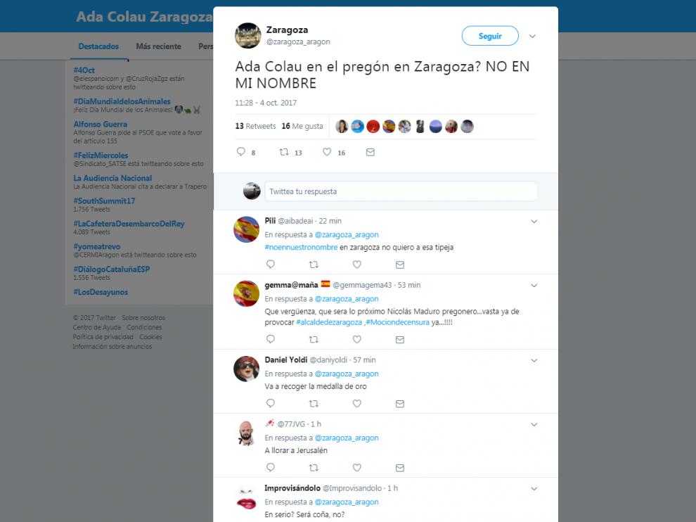 Indignación en Twitter por la visita de Ada Colau a Zaragoza el día del pregón