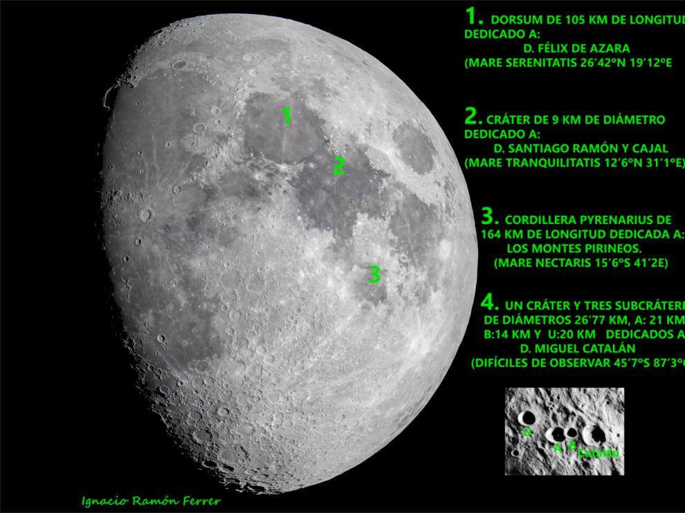 Fotografía lunar con las indicaciones de las zonas dedicadas a los tres aragoneses y a los Pirineos.
